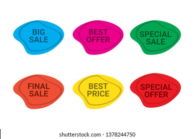Set of sale / discount labels in blue, pink, green, orange, yellow and red colors.Modern, trendy, organic, curvy geometric shape tags for advertisements, brochures and websites.