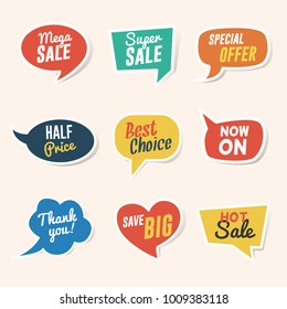 Set of Sale, Discount and Offers Paper Speech Bubble Templates