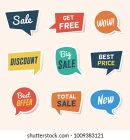 Set of Sale, Discount and Offers Paper Speech Bubble Banners