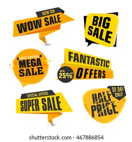 Set of Sale and Discount Offers Stickers, Tags, Labels or Ribbons design with different typographic collection on white background.
