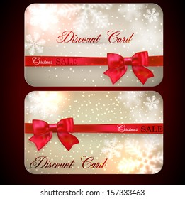 Set of sale and discount paper cards with red bows and ribbons. Vector.