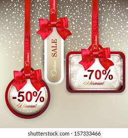 Set of sale and discount paper labels with red bows and ribbons. Vector.