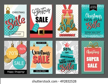 Set of sale holiday website banner templates. Christmas and New Year  illustrations for social media banners, posters, email and newsletter designs, ads, promotional material.