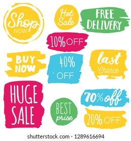 Set of sale labels. Hand drawn vector illustration labels for shopping, e-commerce, product promotion, social media stickers, marketing.
