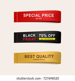 set of sale price banner and tag label to business promotional.