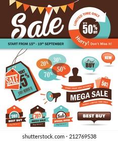Set of sale promotion design elements