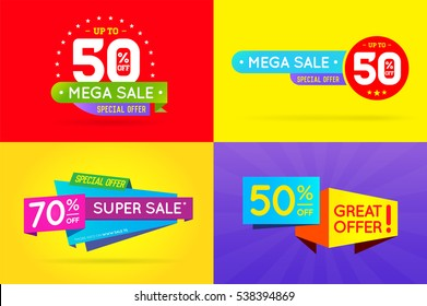 Set of Sale Sign Banner Poster ready for Web and Print. Vector.