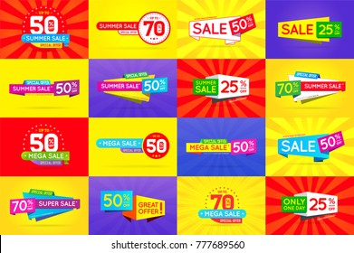 Set of Sale Signs, Banners, Posters, Cards. Vector.