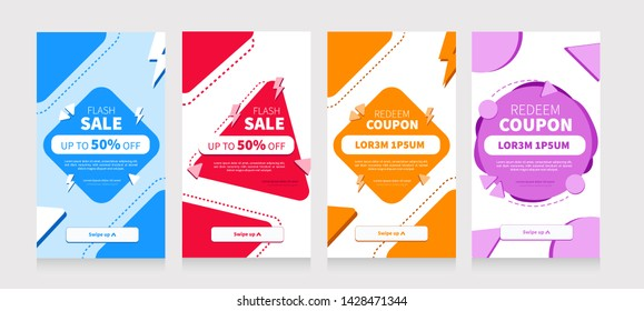 Set of sale social media for mobile design.  Set Promo in flat style. Vector promotion labels. Special offer, Big sale, best offer.