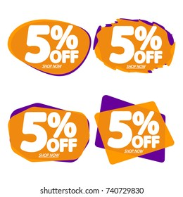 Set Sale speech bubble banners, discount tags 5% off, element design template, app icon, vector illustration