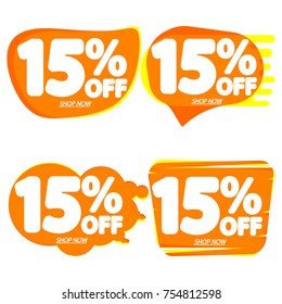 Set Sale speech bubble banners, discount tags 15 percent off, elements design template, app icon, vector illustration