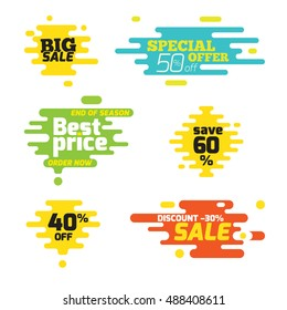 Set sale sticker dynamic wavy form with irregular parallel rounded lines. Isolated on white background. Advertising design shape. Flat style.