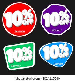 Set Sale tags 10% off, banners design template, discount app icons, vector illustration