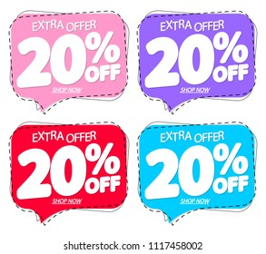 Set Sale tags 20% off, discount speech bubble banners design template, extra offer, app icons, vector illustration
