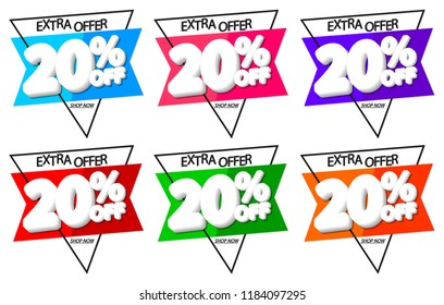 Set Sale tags 20% off, discount banners design template, extra offers, app icons, vector illustration