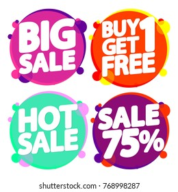 Set Sale tags, banners design template, 75 percent off, app icons, vector illustration
