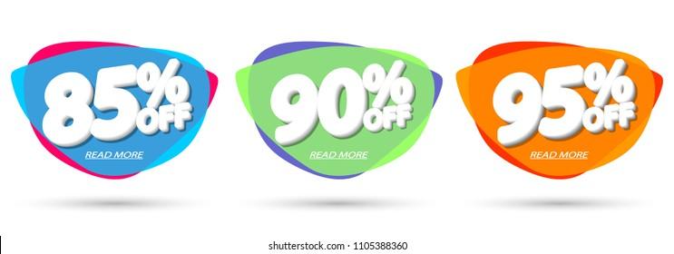 Set Sale tags, bubble banners design template, app icons, vector illustration