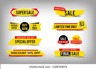 Set of sale tags, discount up to 50% off, special offer banners, buy now button. Vector web elements