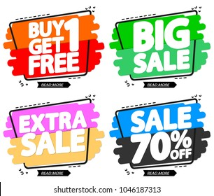Set Sale tags, discount banners design template, app icons, vector illustration