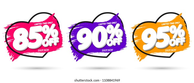 Set Sale tags, discount banners design template, app icons, Valentines Day, vector illustration