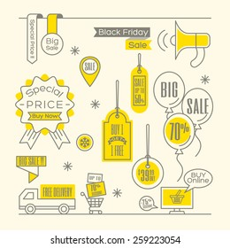 Set of Sale tags Label shopping design elements