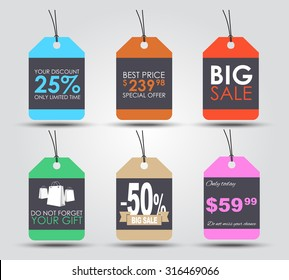 Set of sale tags (labels) for indicating the amount of discounts and prices. Retro style. Vector illustration