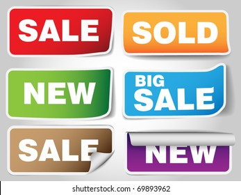 Set of sale tags - six types  - blue , green, orange , pink, blue, red
