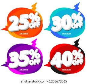 Set Sale tags, speech bubble banners design template, Flash discount, app icons, vector illustration