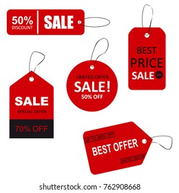 Set of sale tags with text. Limited edition, best choice, special offer.