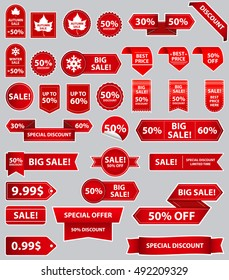 Set of sale tags with text - Mega Sale, Winter Sale, Special Offer, 50% OFF. Vector labels for design banners and flyers. Isolated on grey background.