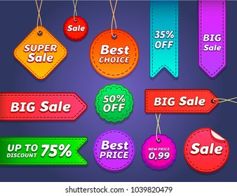 Set of sale tags with text - Super Sale, BIG Sale, 50% OFF, Best Choice, Up To Discount, New Price, 35% Off. Vector labels for design banners, flyers, Offer in a Game. Isolated on gray background.