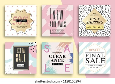 Set sale template eye catching sale website banners for mobile phone. Vector illustrations for social media banners, posters, app, email and newsletter designs, ads, promotional material.