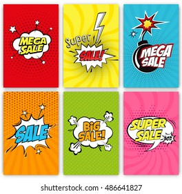Set of Sale Vector Designs with Cartoon, Comic speech bubbles for posters, social media banners, email and newsletter designs promotional material in pop-art style: Mega Sale, Super Sale, Big Sale