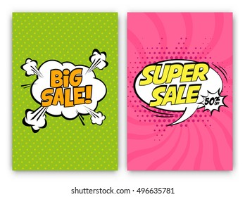 Set of Sale Vector Designs with Cartoon, Comic speech bubbles for posters, social media banners, email and newsletter designs promotional material in pop-art style: Big and Super Sale