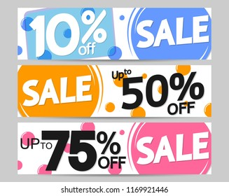 Set Sale web banners design template, up to 10% 50% 75% off, vector illustration