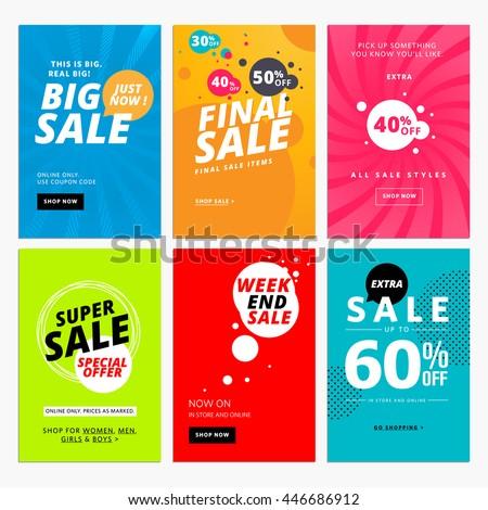 Set Sale Website Banner Templates Vector Stock Vector Royalty Free