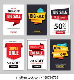 Set of sale website banner templates.Social media banners for online shopping. Vector illustrations for posters, email and newsletter designs, ads, promotional material.