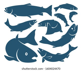 Set of Salmon Fish design vector. Fishing logo design template illustration . Sport fishing Logo