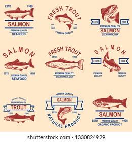 Set of salmon, trout seafood labels. Design element for logo, label, sign, poster, banner. Vector illustration