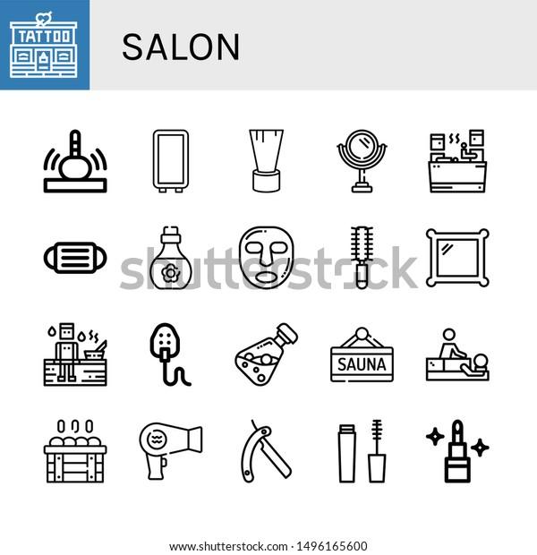 Set Salon Icons Such Tattoo Studio Stock Vector Royalty