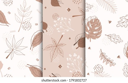 Set of samples pattern with abstract autumn elements, shapes, plants and leaves in one line style. For mobile app page, web, wrapping paper, textile template. Vector minimalistic illustration.
