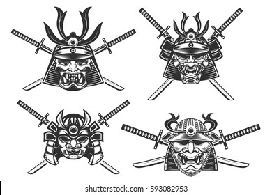 set of the samurai helmets with swords isolated on white background. Design elements for logo, label, emblem, poster, t-shirt. Vector illustration.