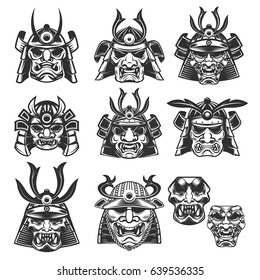 Set of samurai masks and helmets on white background. Design elements for logo, label, emblem, sign. Vector illustration