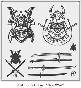 Set of samurai warrior masks, armor and weapon. Japanese warrior emblems, labels, badges and design elements. Print design for t-shirt.