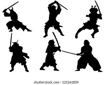 The set of Samurai warrior vector silhouette