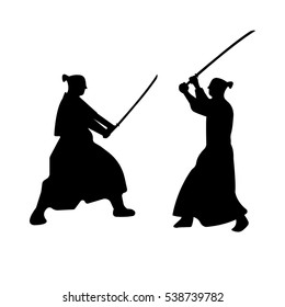 The Set of Samurai Warriors Silhouette with katana swords. Vector illustration.