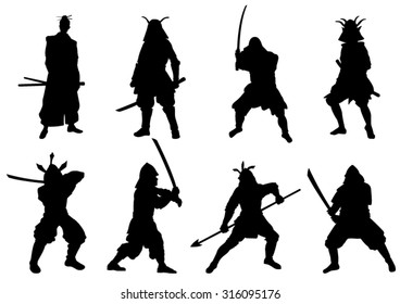 The Set of  Samurai Warriors Silhouette - Vector Image
