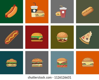 Set of sandwiches. burger, traditional food . Vector clip art illustration set