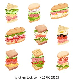 Set sandwiches. In a loaf, square and triangular toasts, with different fillings. Vector illustration.