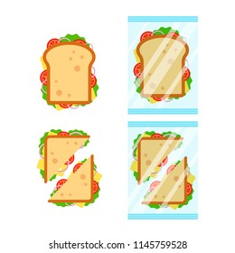Set of sandwiches top view with tomato, onion, salad, cheese isolated on white background. Sandwich triangle and rectangle in transparent packaging, snack for breakfast and lunch, flat vector